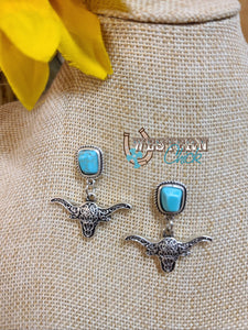 Longhorn & Turquoise Earrings Western Chick Boutique