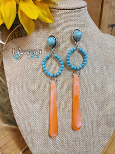 Coral Pendant & Turquoise Earrings Western Chick Boutique