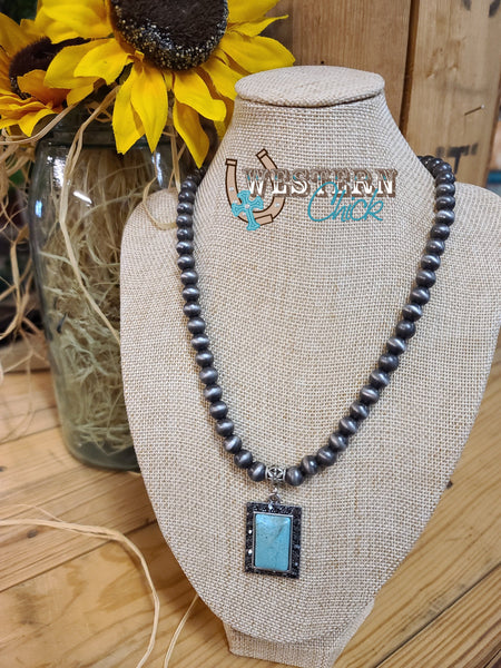Navajo Pearl Necklace w/ Rectangular Turquoise Pendant Isac Trading