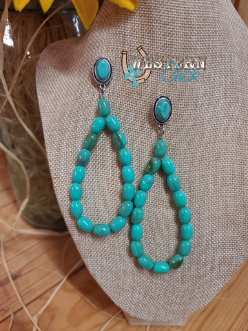 Turquoise Beaded Dangle Earrings Western Chick Boutique