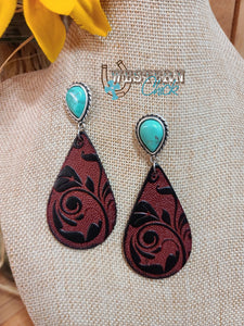 Leather Teardrop & Turquoise Earrings Western Chick Boutique