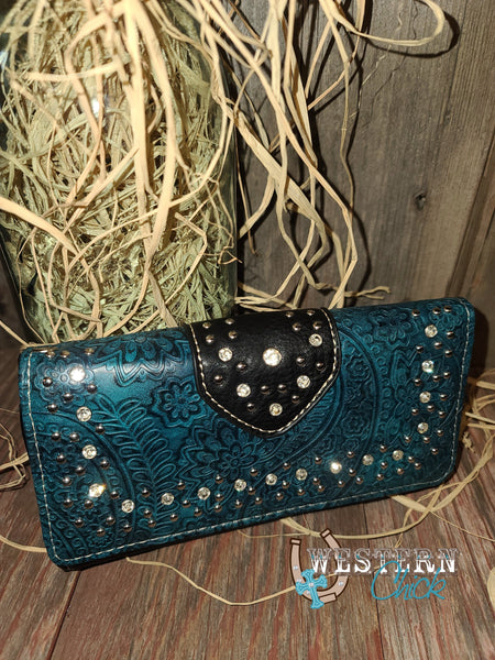 Hickory's Western Wallet Wristlet - Black/Turquoise Wallet Montana West