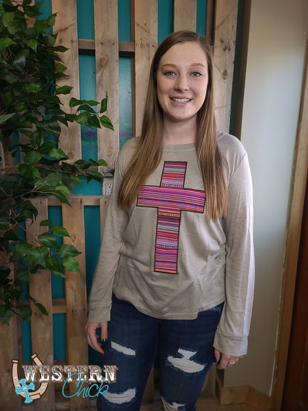 Serape Cross Long Sleeve Tee - Taupe Top Southern Grace