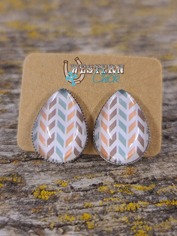 Earrings - Western Chevron Teardrops Jewelry Southern Charm Trading Co