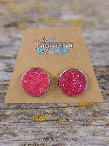 Earrings - Hot Pink Druzy Jewelry Southern Charm Trading Co