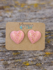 Earrings - Pink Crackle Hearts Jewelry Southern Charm Trading Co