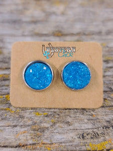 Earrings - Turquoise Druzy Jewelry Southern Charm Trading Co