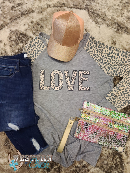 Best Friend Leopard Love Tee - Gray Graphic Tee Southern Grace