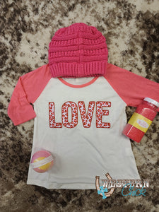 Girls Sweetheart Love Raglan Tee Graphic Tee Southern Grace