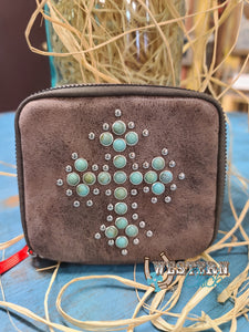 Travel Organizer Pill Box Turquoise Studded Cross