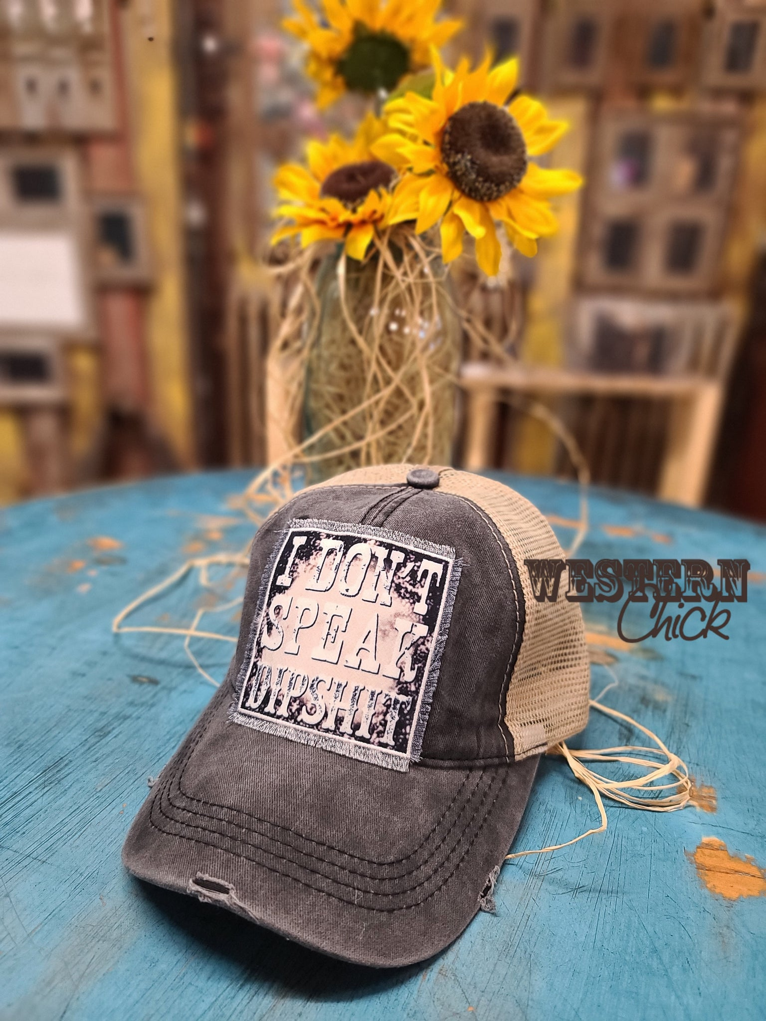 I Don't Speak Dipshit Patch Hat Cap - Charcoal