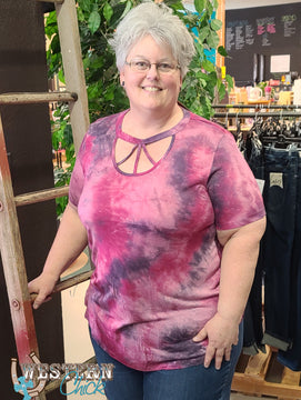 Uptown Tie-Dyed Fenced in Top - Purple