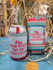 Train Wreck Can Koozie