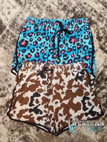 Staycation Shorts W/Pockets - Turquoise Leopard