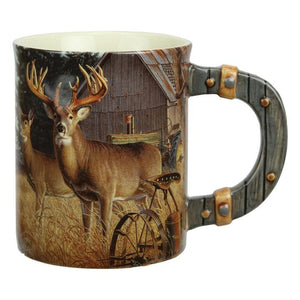 Ceramic 3D Deer/Farm Scene Mug 15 oz