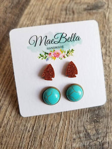 Acrylic Coppery Arrowhead/Turquoise Stud Earrings