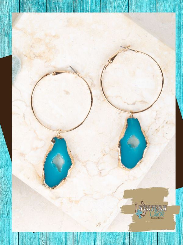 Cowley's Geode Hoop Earrings - Turquoise Jewelry Southern Grace
