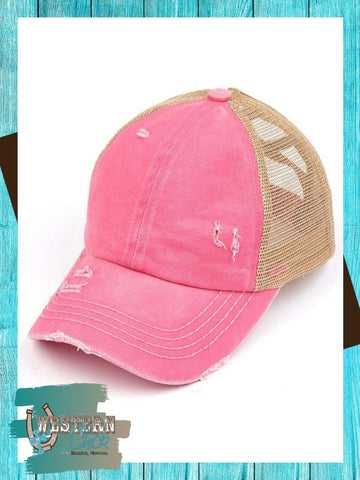 Denim Crossed Band Ponytail Cap - Pink Hat Cheveux Corp.
