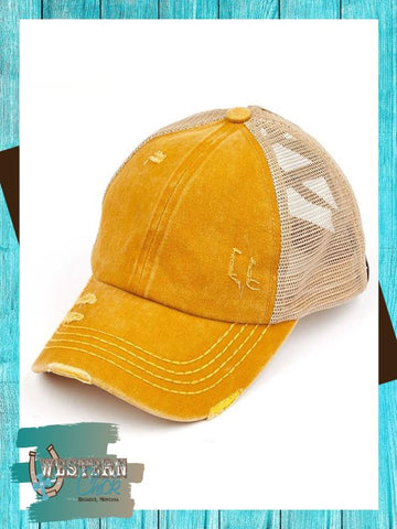 Denim Crossed Band Ponytail Cap - Mustard Hat Cheveux Corp.
