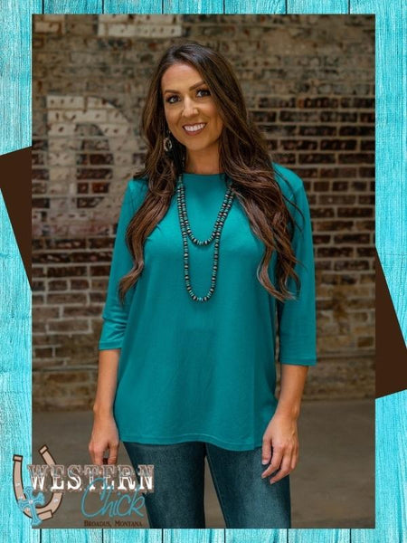 Our Basic Scoop Neck Top - Jade Top L & B