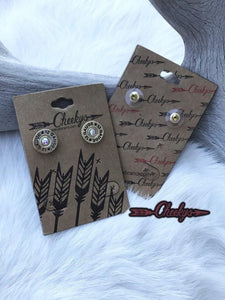 Cheekys® Mama Get Your Gun Earrings-Gold Setting