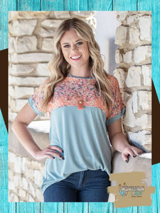 Anna's Soft Blue Tee With Coral Floral Top Southern Grace
