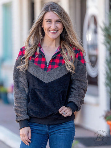 The Lodgepole Wubby Pullover - Buffalo Plaid Outerwear Southern Grace
