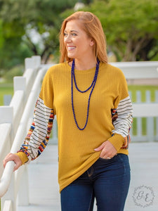 The Mia Mixed Waffle Knit Top - XL