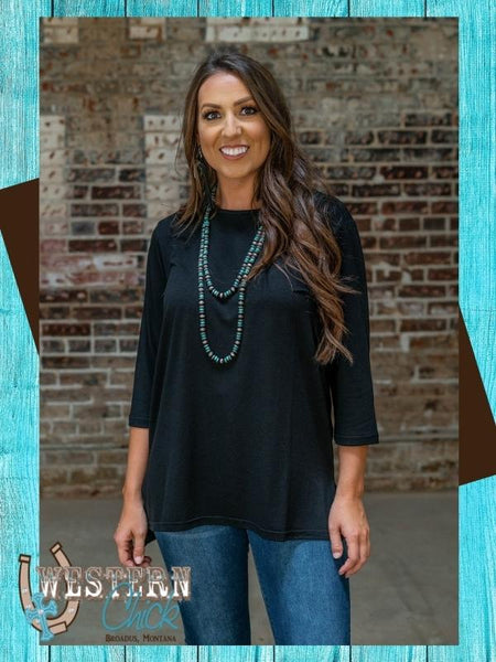 Our Basic Scoop Neck Top - Black Top L & B