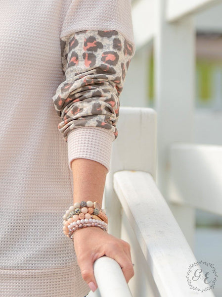 Waffle Knit Top w/ Leopard Print Sleeves Top Southern Grace