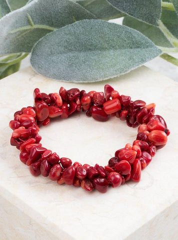 Rock Steady Natural Stone Stretch Bracelet - Red Jewelry Southern Grace