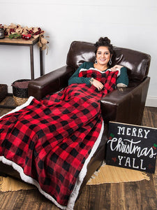 Buffalo Plaid Shearling Blanket Gift Silver Moon