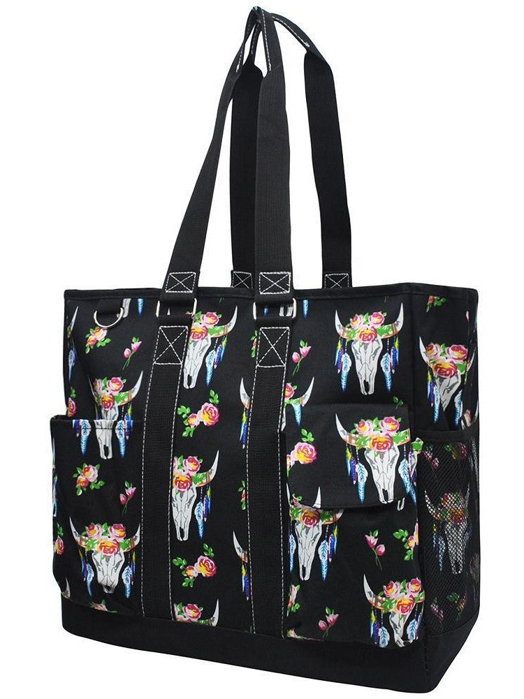 Bull Skull Tall Canvas Tote Bag