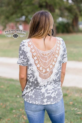 Back It Up Cowhide Crochet Top Top Crazy Train
