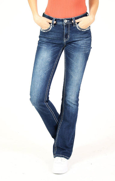 "Embroidered 5 Pocket Bootcut Jeans - 34"" Denim Grace in LA"