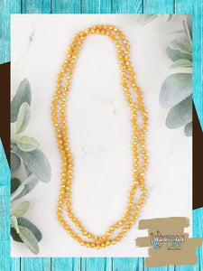 "The Essential 60"" Double Wrap Beaded Necklace - Mustard Jewelry Southern Grace"