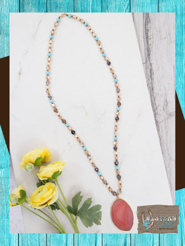 Sunset's Beaded Necklace With Stone Pendant Jewelry Southern Grace