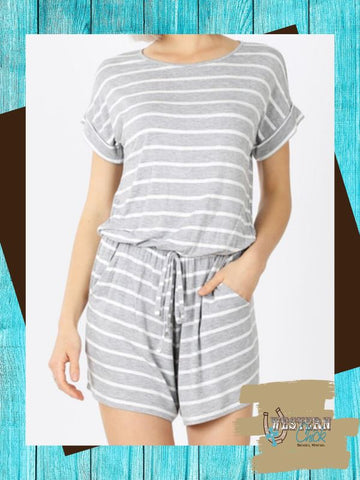 Striped Romper For Women Top Zenana
