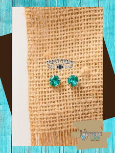 Glam Girl Stud Earrings - Teal Jewelry Crazy Train