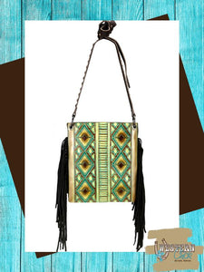 Western Aztec Concealed Carry Crossbody - Turquoise Handbags Montana West