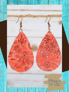 Paisley Leather Teardrop Earrings - Coral Jewelry Southern Grace