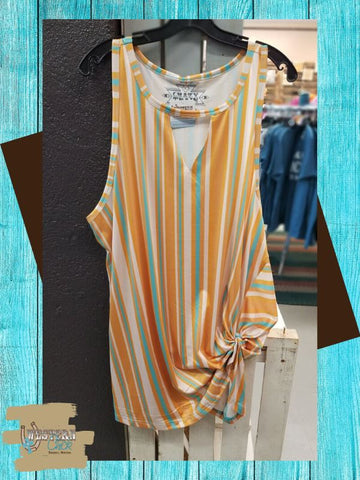 Mustard and Aqua Striped Tunic Tank Western Chick Boutique