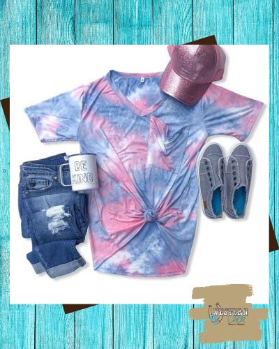 Cotton Candy Slouchy Pocket Tie Dye Tee Top Crazy Train
