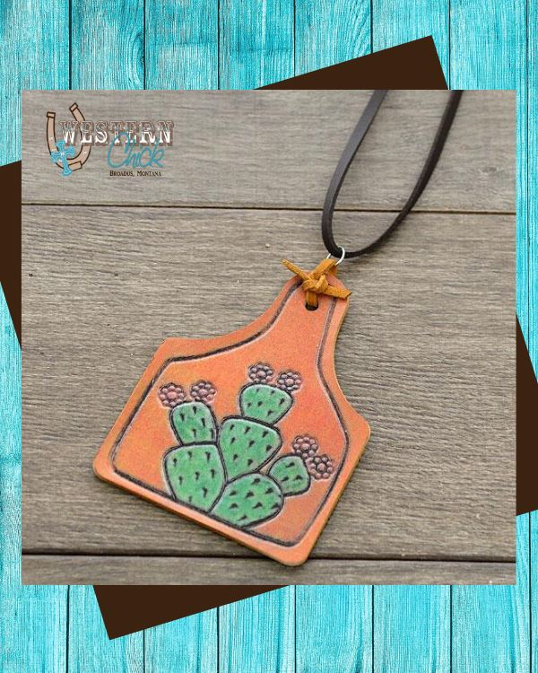 Leather Cactus Cattle Tag Necklace YK Trading