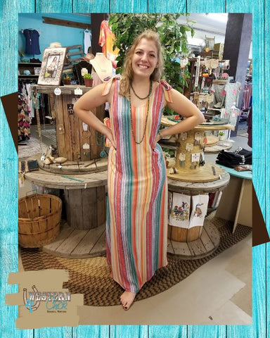 Multi Color Striped Maxi Dress Dresses Sweet Bee Boutique