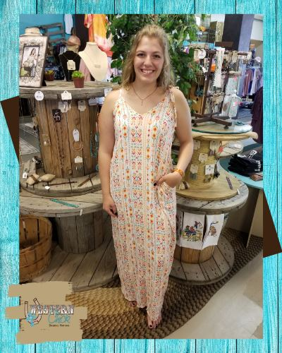 Ivory Maxi Dress With Tribal Print Dresses Sweet Bee Boutique