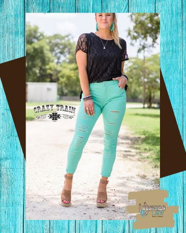 Turquoise Skinny Distressed Denim Jeans Bottoms Crazy Train