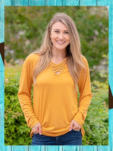 Fenced In Top Long Sleeve - Mustard Top Southern Grace