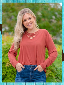 Fenced In Top Long Sleeve - Rust Top Southern Grace