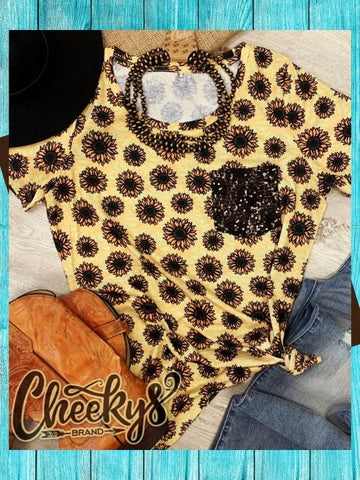 Sunflower Sequin Pocket Scoop Top Western Chick Boutique